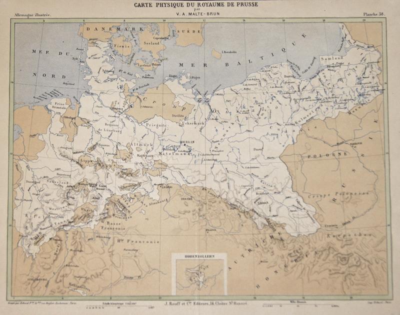 Malte-Brun  Carte Physique du Royaume de Prusse