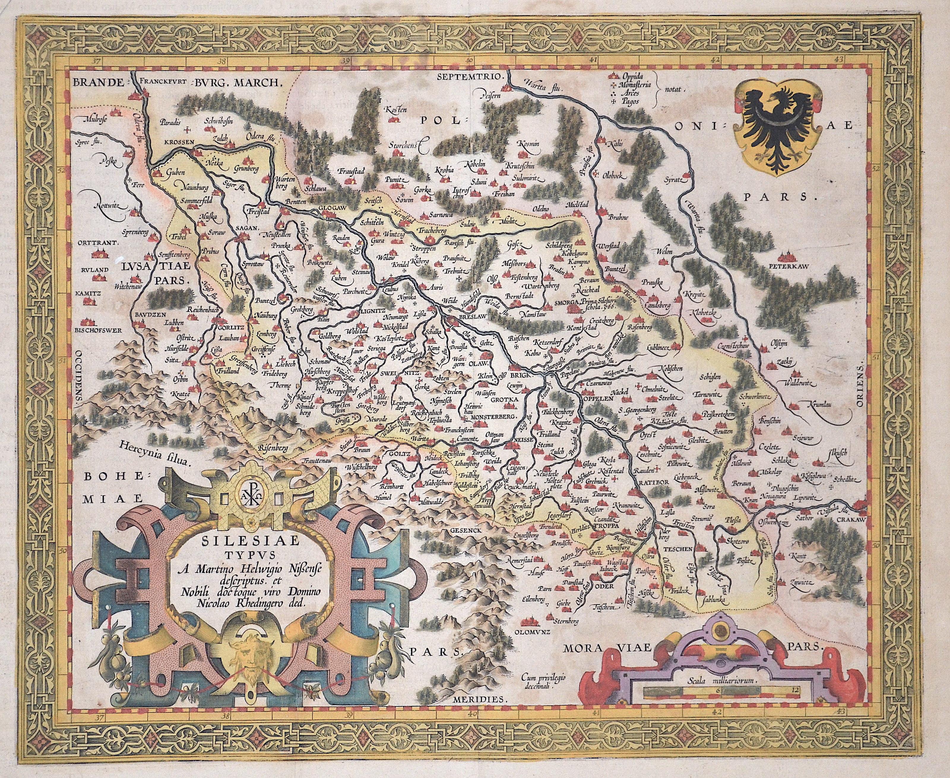Ortelius  Silesiae Typus A Martino Helwigio Nißense descriptus, et Nobili doctoque viro Domino Nicolao Rhedingero ded.