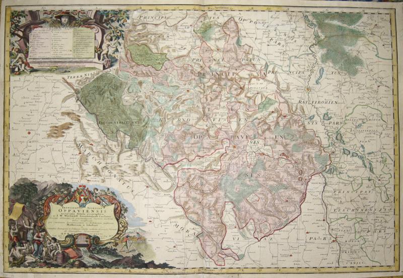 Homann Erben  Principatus Silesiae Oppaviensis novissima Tabula geographica a I. W. Wieland Locumtenente Caesareo..