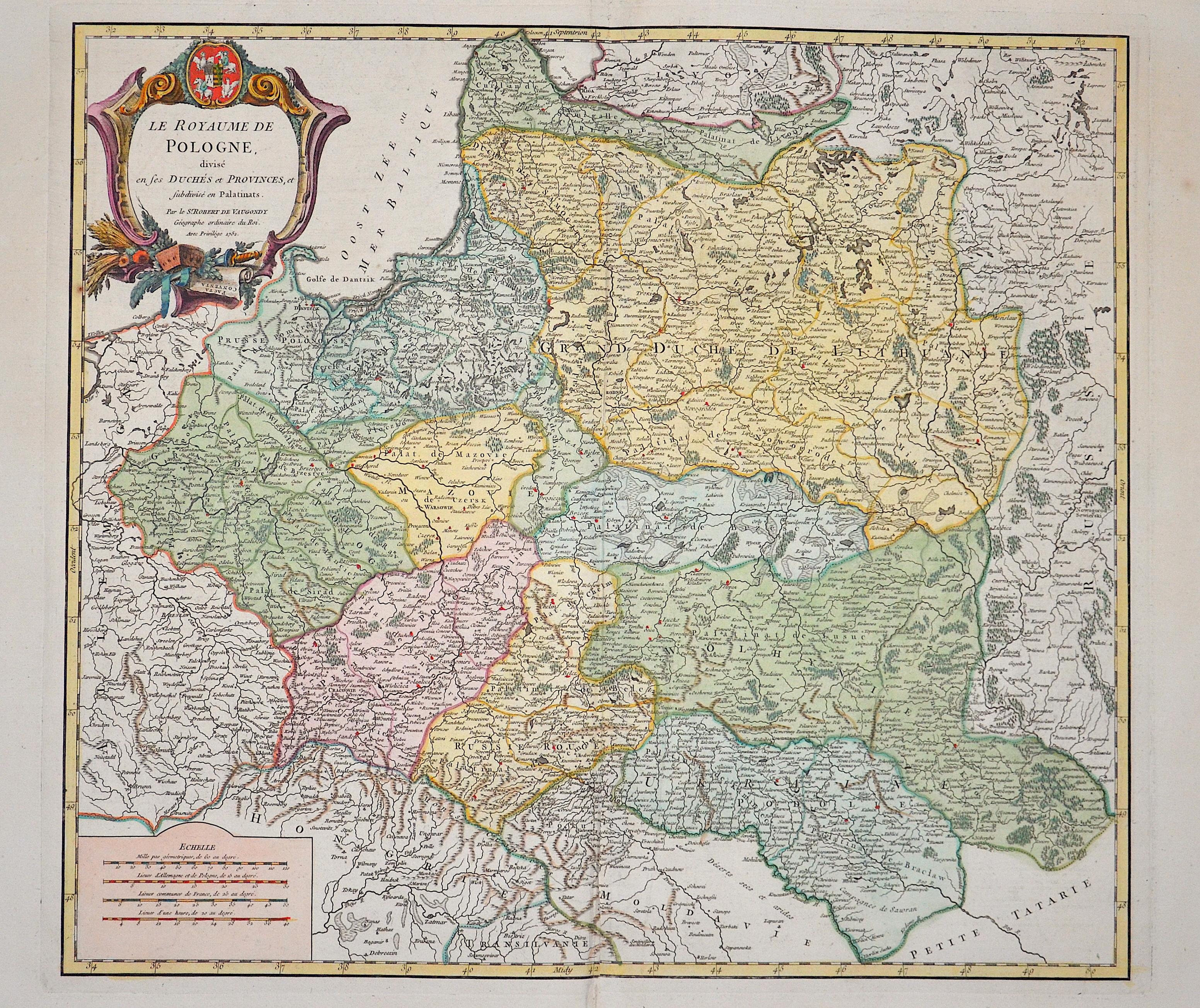 Vaugondy,de  Le Royaume de Pologne, divise en ses Duches et Provinces,et sub divise en Palatinats.