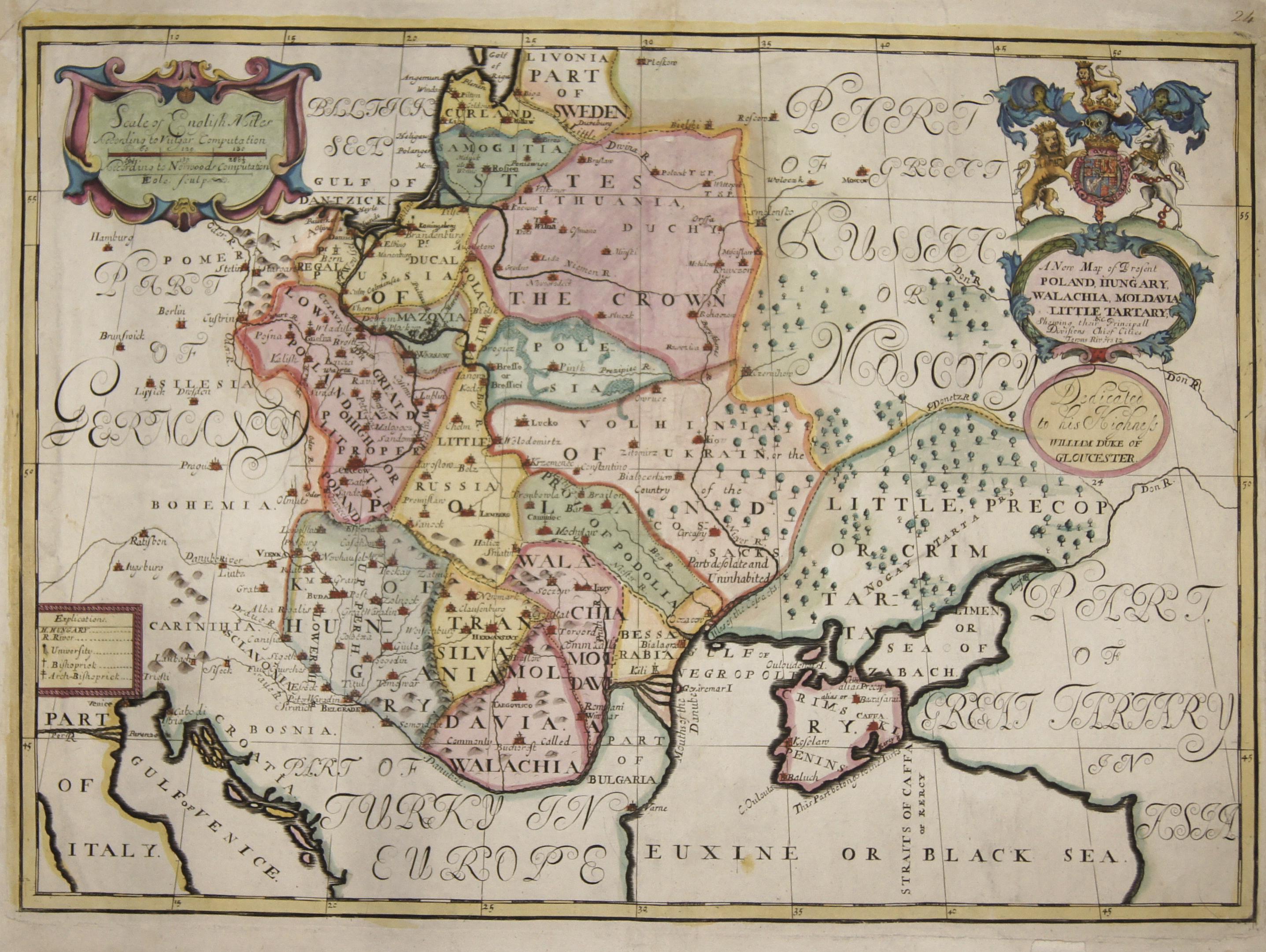 Wells  A New Map of Present Poland, Hungary, Walachia, Moldavia, Little Tartary