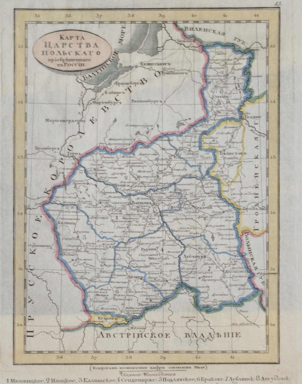 Saveshov  Karte vom Königreich Polen