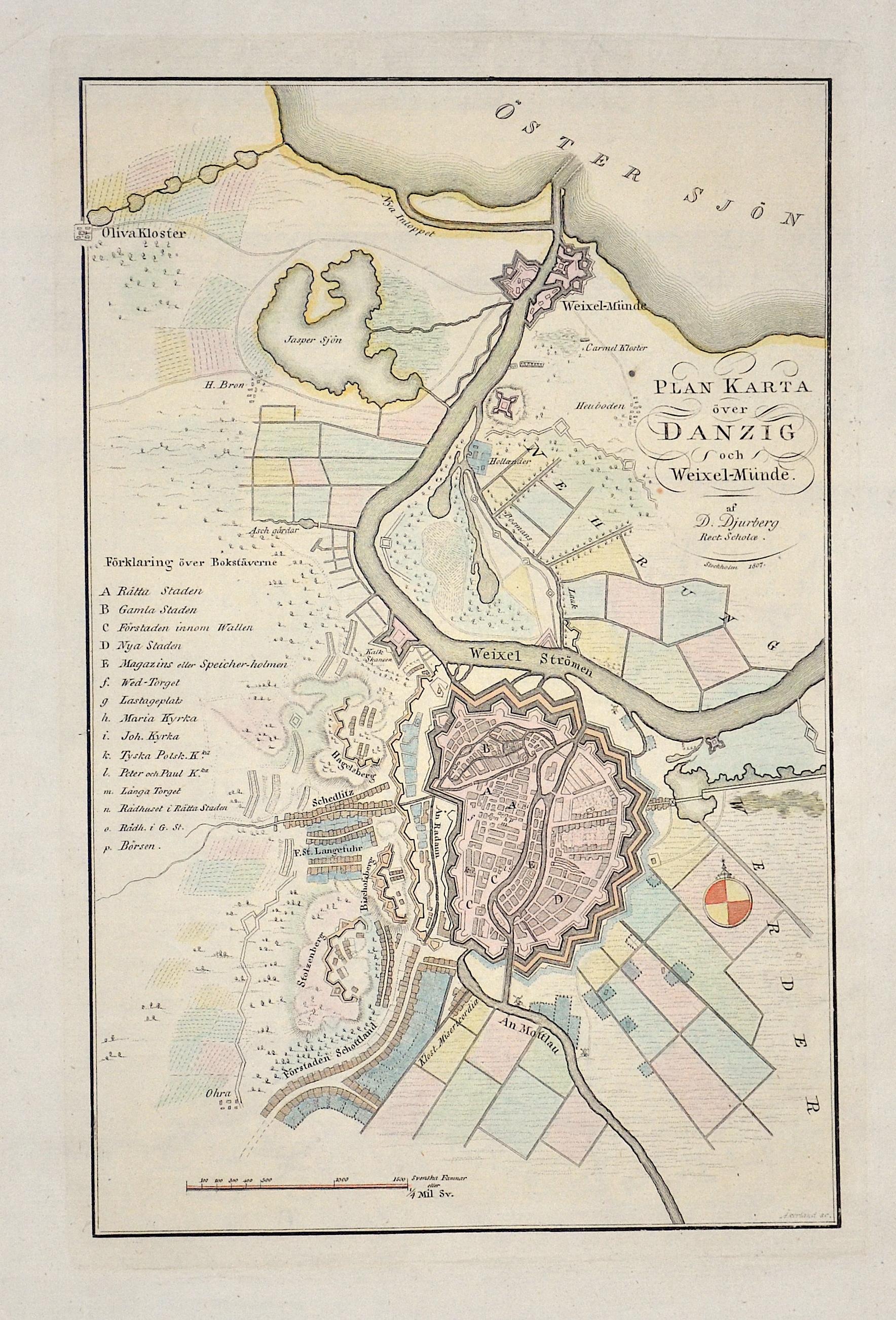 Akerland Erik Plan Karta över Danzig och Weixel-Münde.