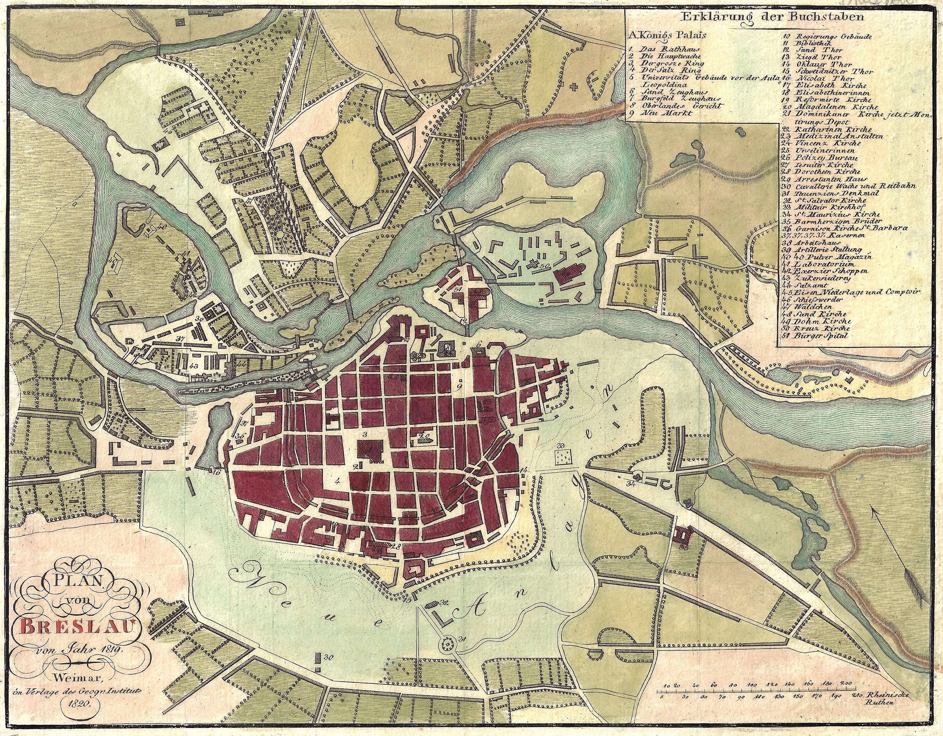 Geographisches Institut  Plan von Breslau von Jahr 1819.