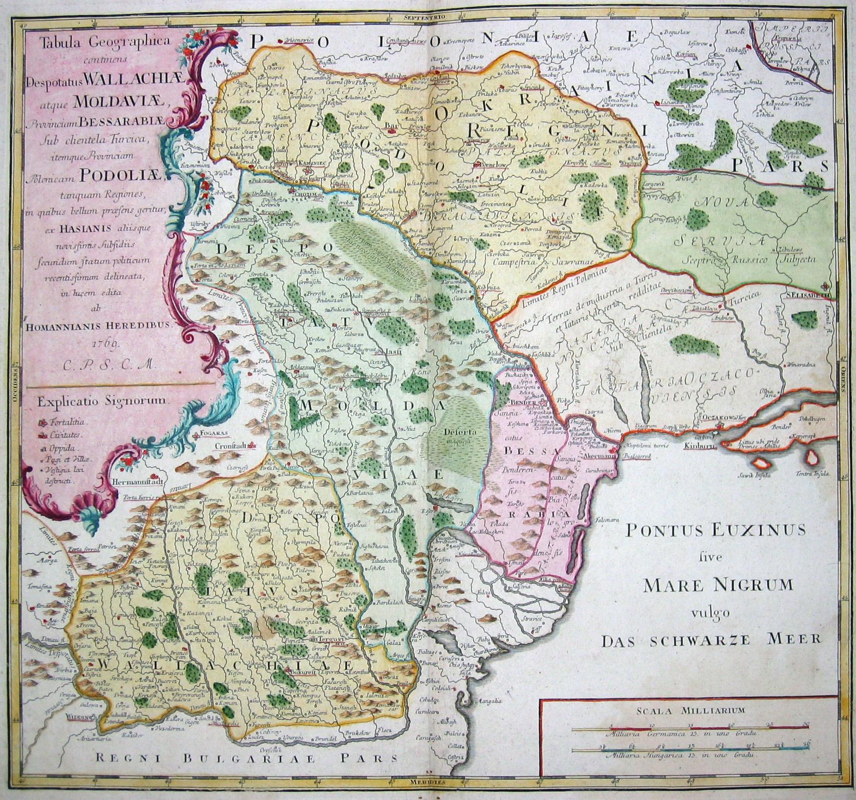 Homann Erben  Tabula Geographica continens Despotatus Wallchiae atque Moldaviae, Provinciam Bessarabiae sub clientela Turcica….