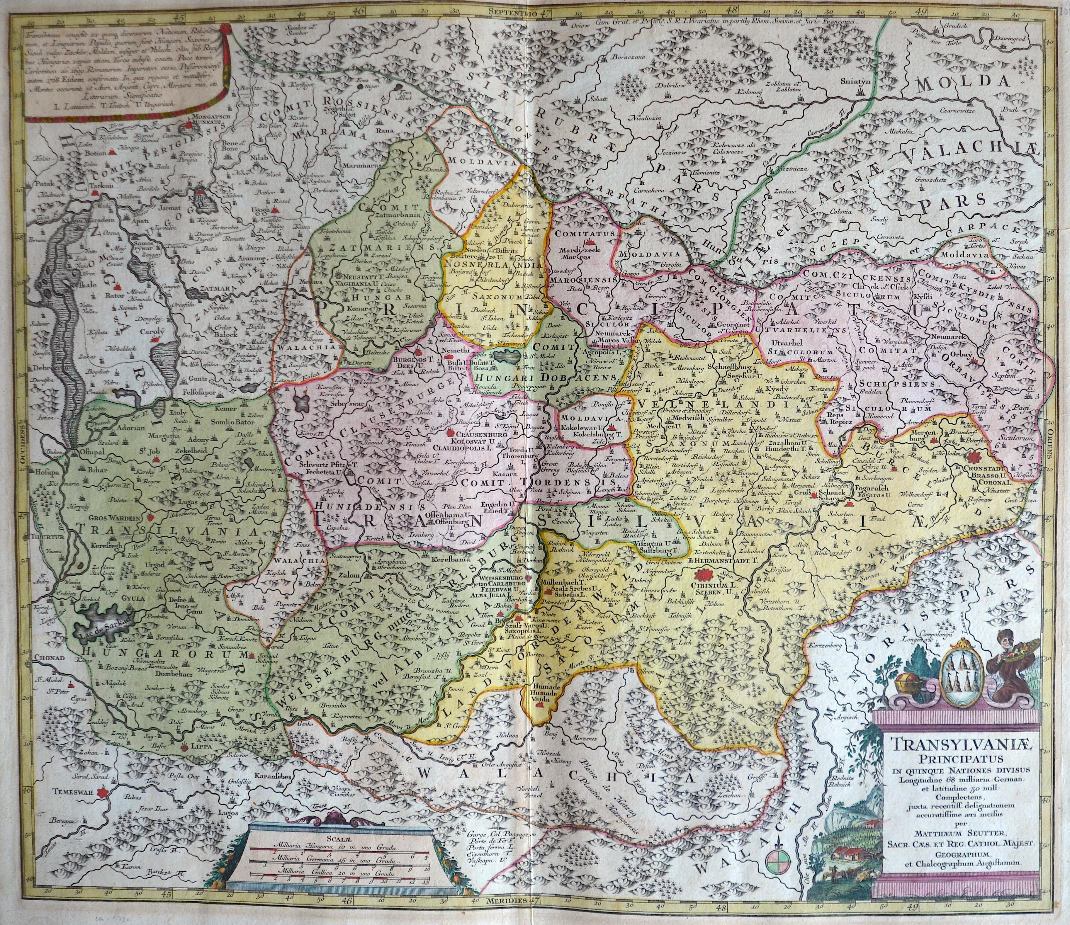 Seutter  Transylvaniae principatus in quinque nationes divisus ….