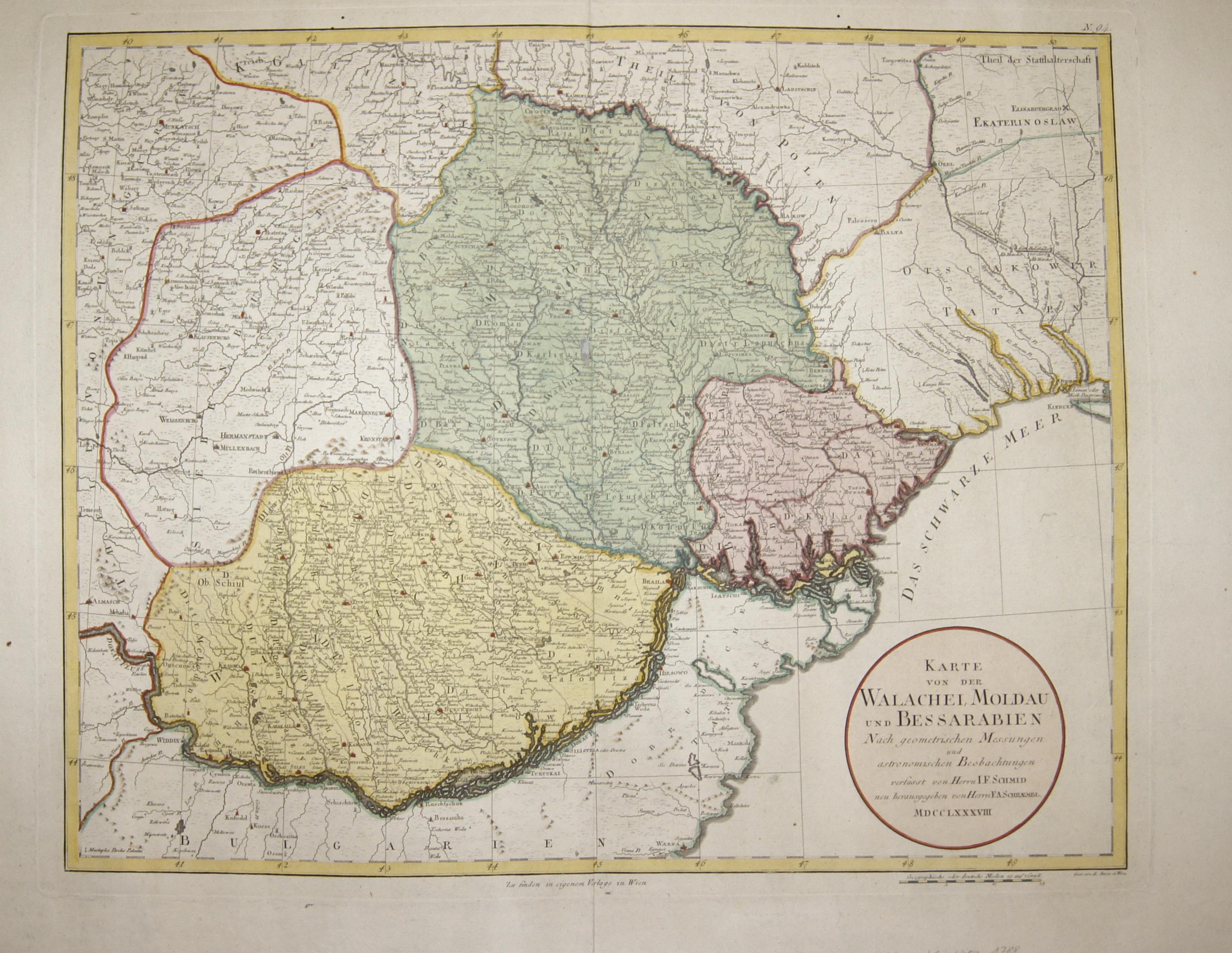 Schraembl  Karte von der Walachei, Moldau und Bessarabien