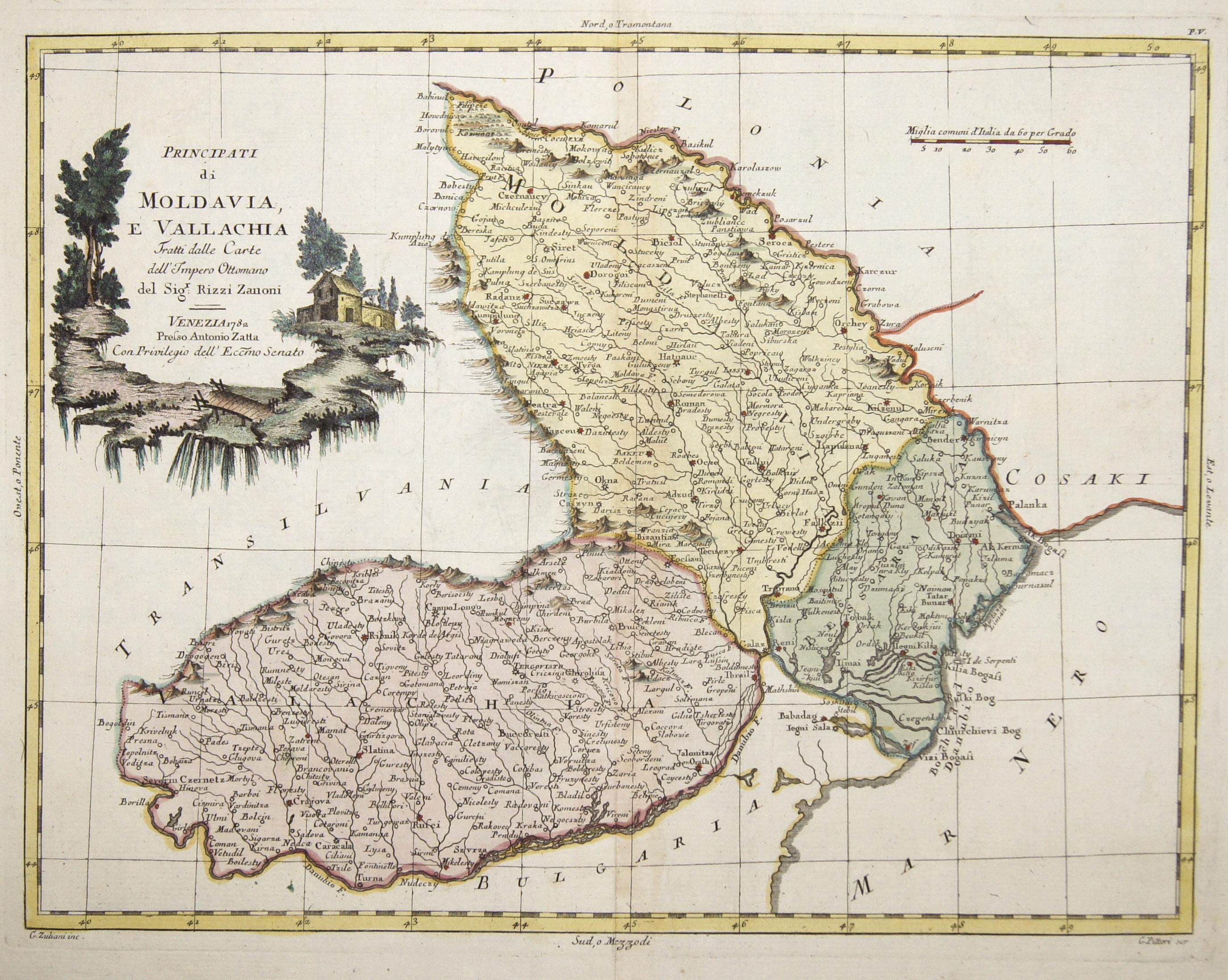 Zatta  Principati di Moldavia, e Vallachia Tratti dalle Carte dell'Impero Ottomano del Sigr. Rizzi Zanoni