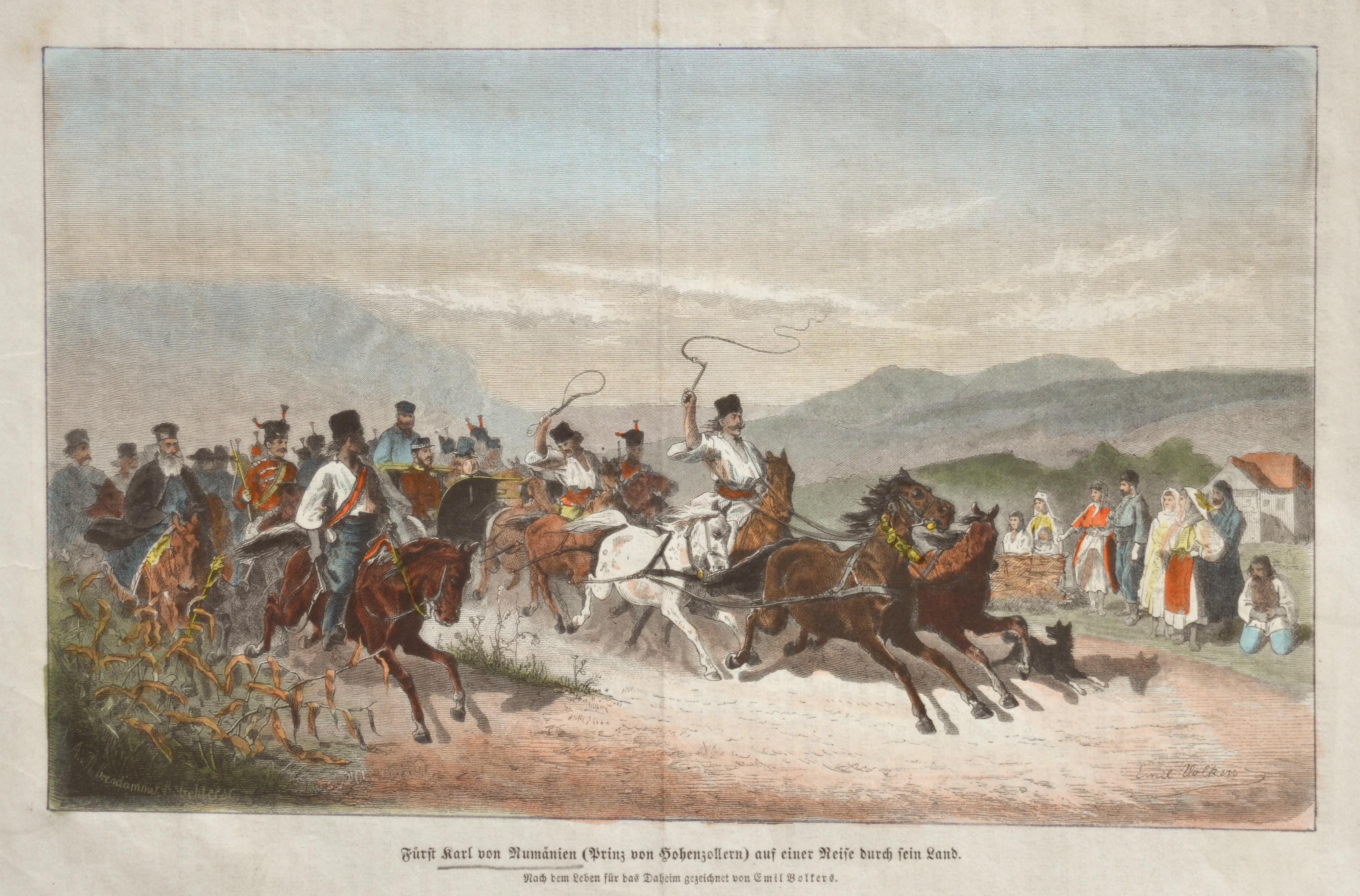 Volkers Emil Ferdinand Heinrich Fürst Karl von Rumänien (Prinz von Hohenzollern) auf einer Reise durch sein Land.