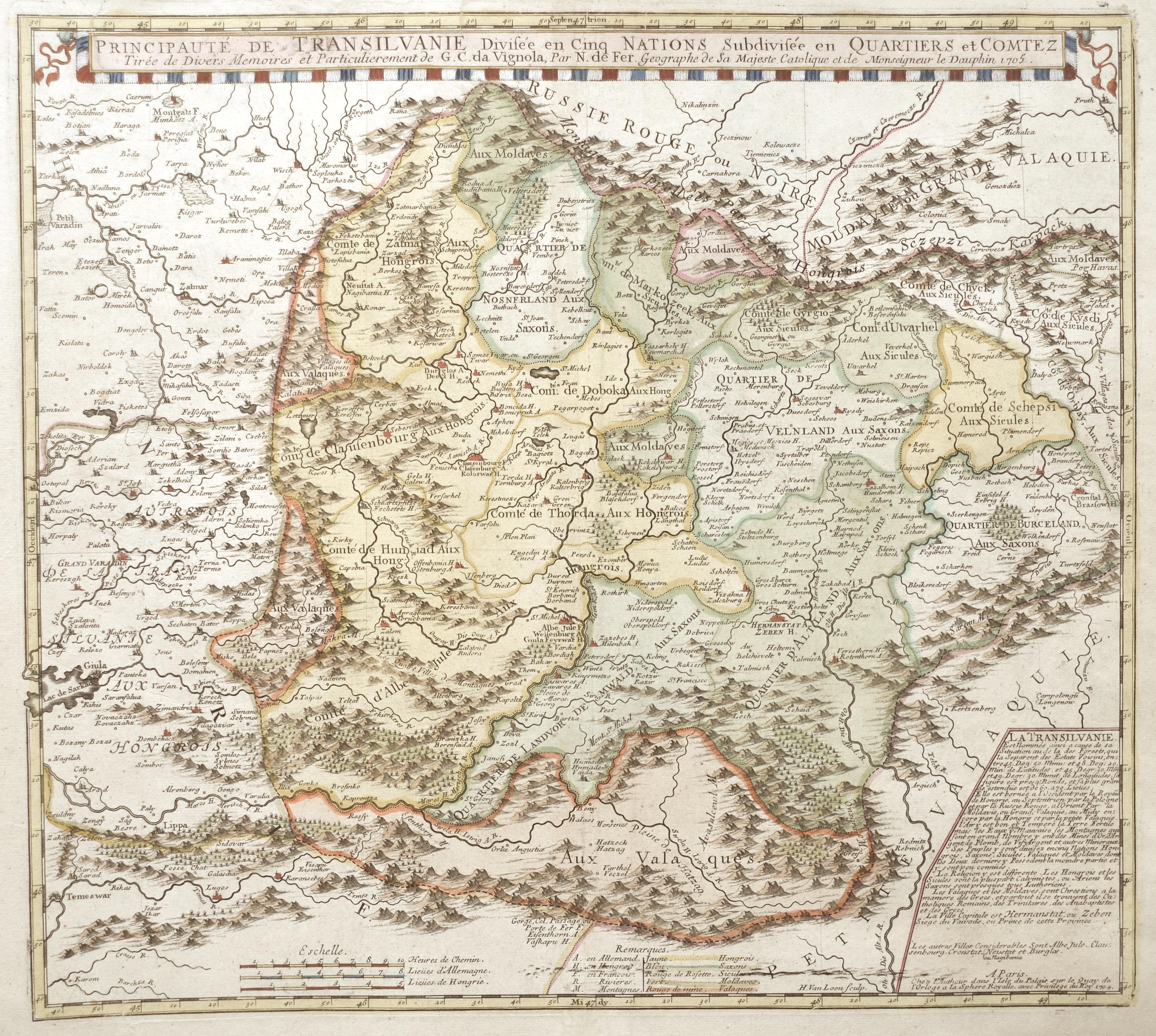 Fer, de  Principauté de Transilvanie Divisée en Cinq Nations Subdivisée en Quartiers et Comtenz