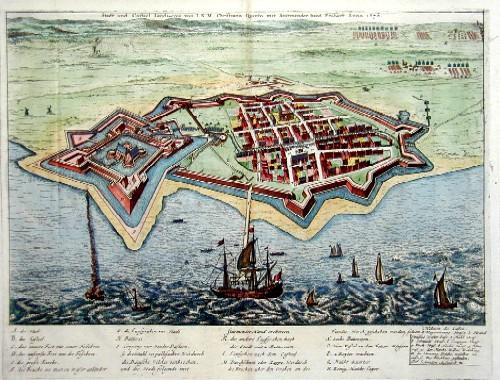 Anonymus  Stadt und Castel Lands-Cron von I.K.M. Christiano Quinto mit Sturmender hand Erobert Anno 1676