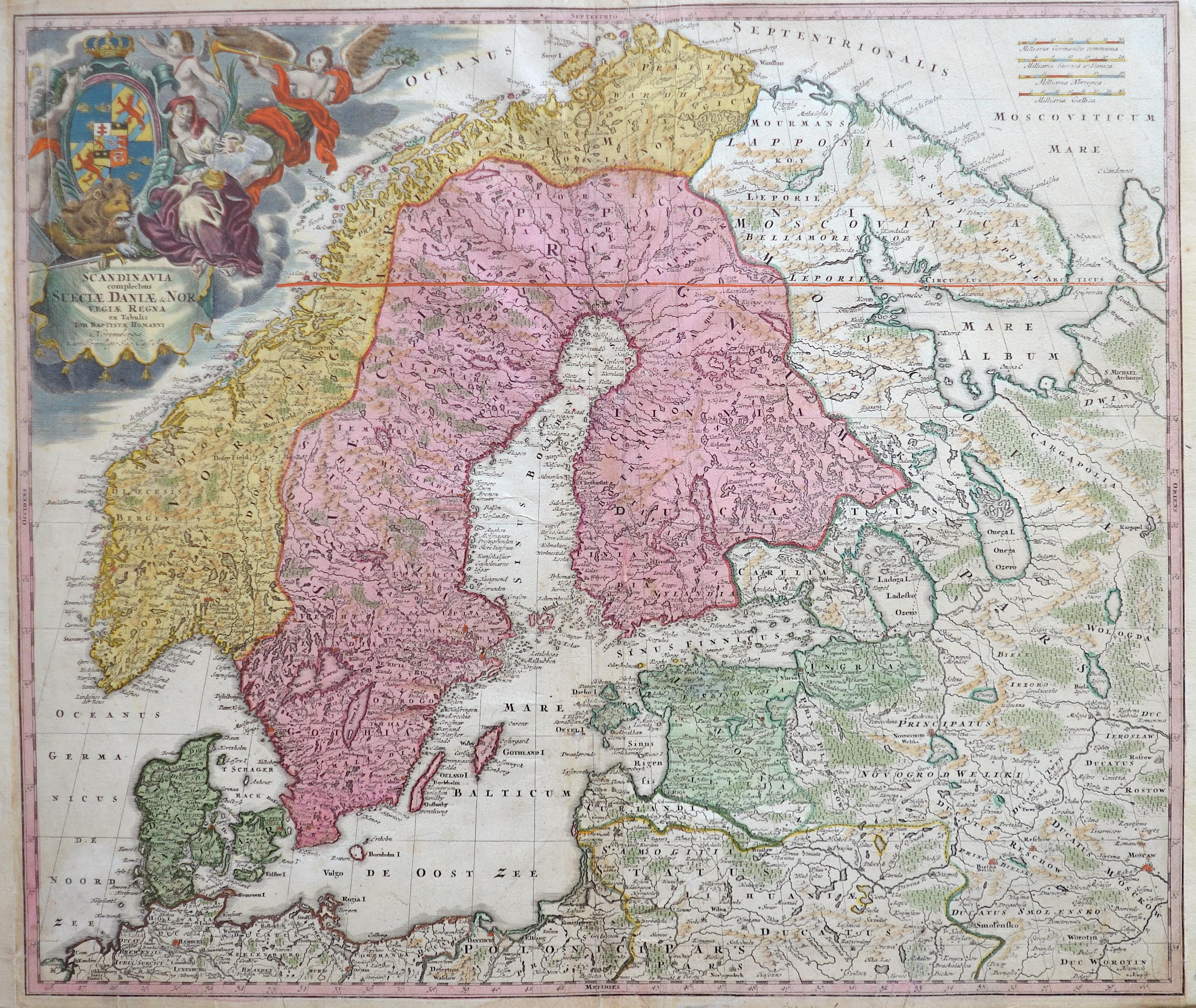 Homann Johann Babtiste Scandinavia complectens Sueciae, Daniae & Norvegiae regna