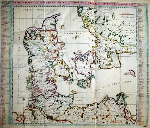 Chatelain Henri Abraham Nouvelle Carte geographique du Royaume de Dannemarck avec une table des villes les plus remarquables