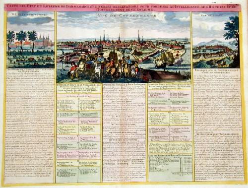 Chatelain Henri Abraham Carte de ´Etat du Royaume de Dannemarck et diverses observations pour condiur  à l´intelligence de l´histoire et du Gouvernemet de ce Royaume