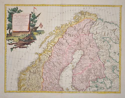 Vaugondy,de Robert Les couronnes du nord la Suède et la Norwège avec les frontières de la Russie d´Europe