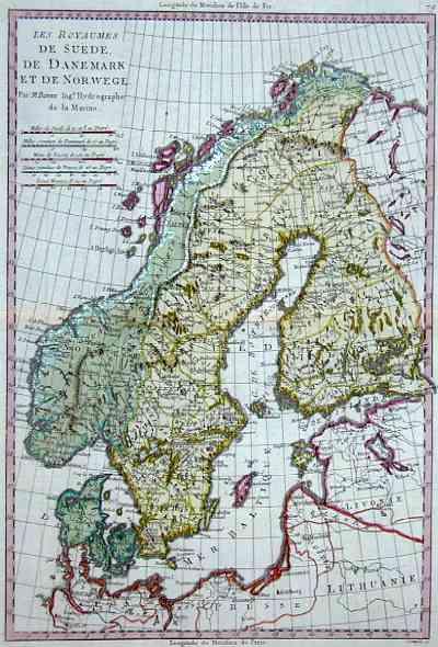 Bonne Rigobert Les royaumes de Suede, de Danemark et de Norvege