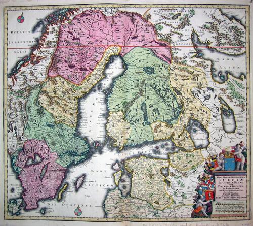 Seutter  Nova mappa geographica Sueziae ac Gothiae regna ut et Finlandia ducatum ac Lapponiam…