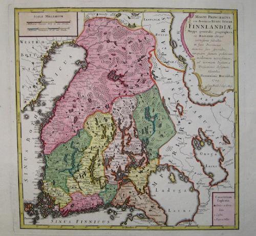 Homann Erben  Magni principatus ceu Provinciae regni Sueciae, Finnlandiae mappa generalis geographica