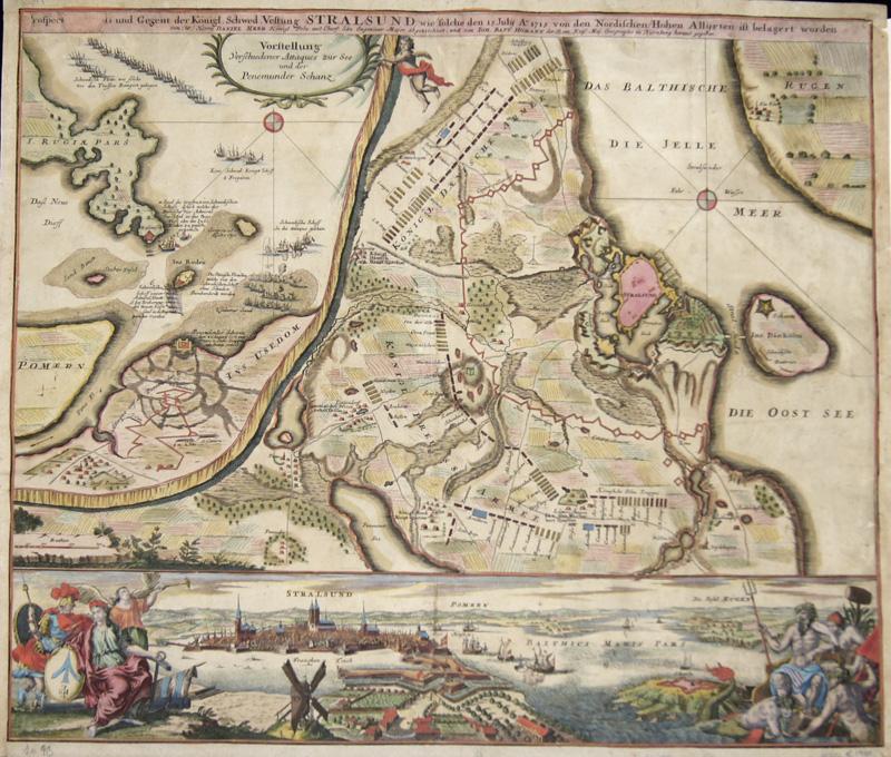Homann  Prospect, Grundris und Gegent der ..Vestung Stralsund, wie solche den 15. July A 1715 von den