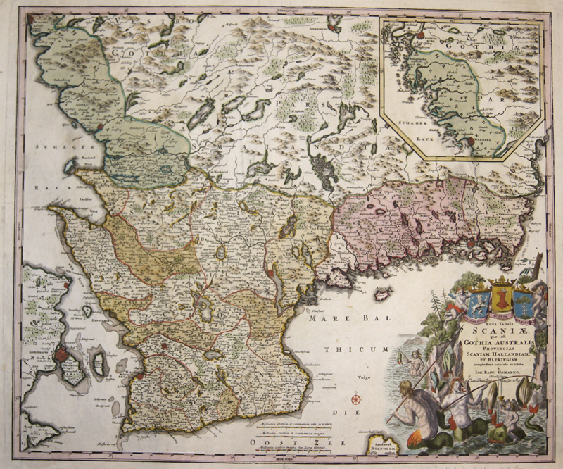 Homann Johann Babtiste Nova Tabula Scaniae, quae est Gothia Australis provincias Scaniam, Hallandiam, et Blekingiam