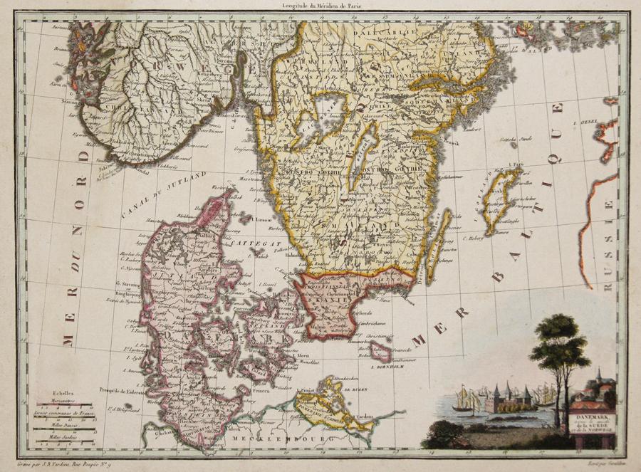 Tardieu Jean Baptiste Danemark, avec le midi le la Suede et de la Norwege.