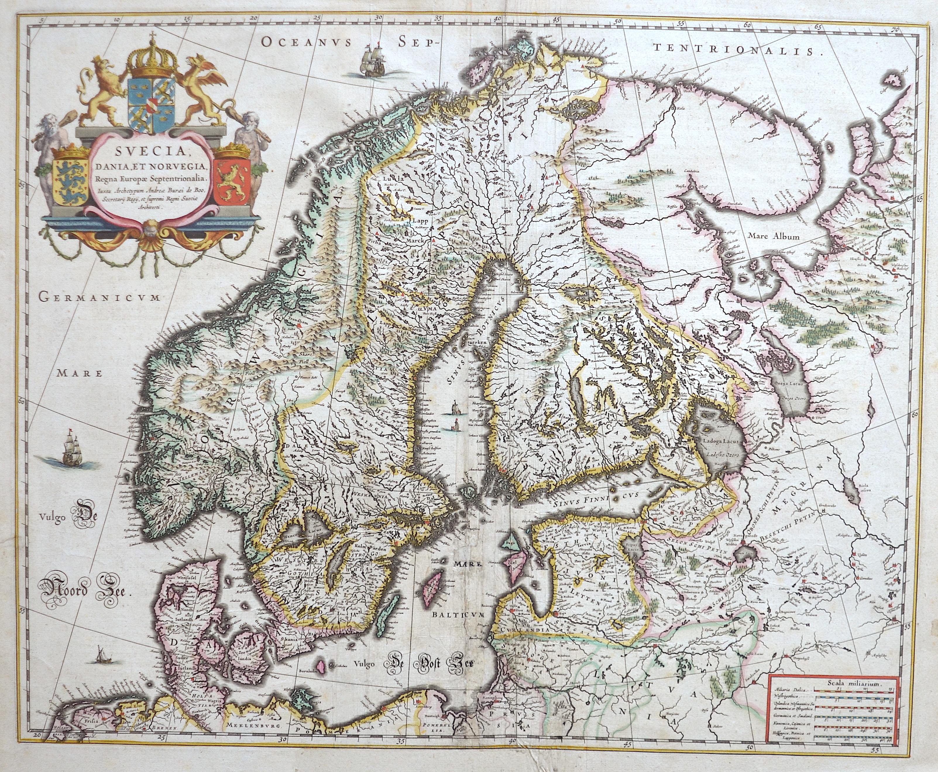 Blaeu  Svecia, Dania, et Norvegia, Regna Europae Septentrionalia.
