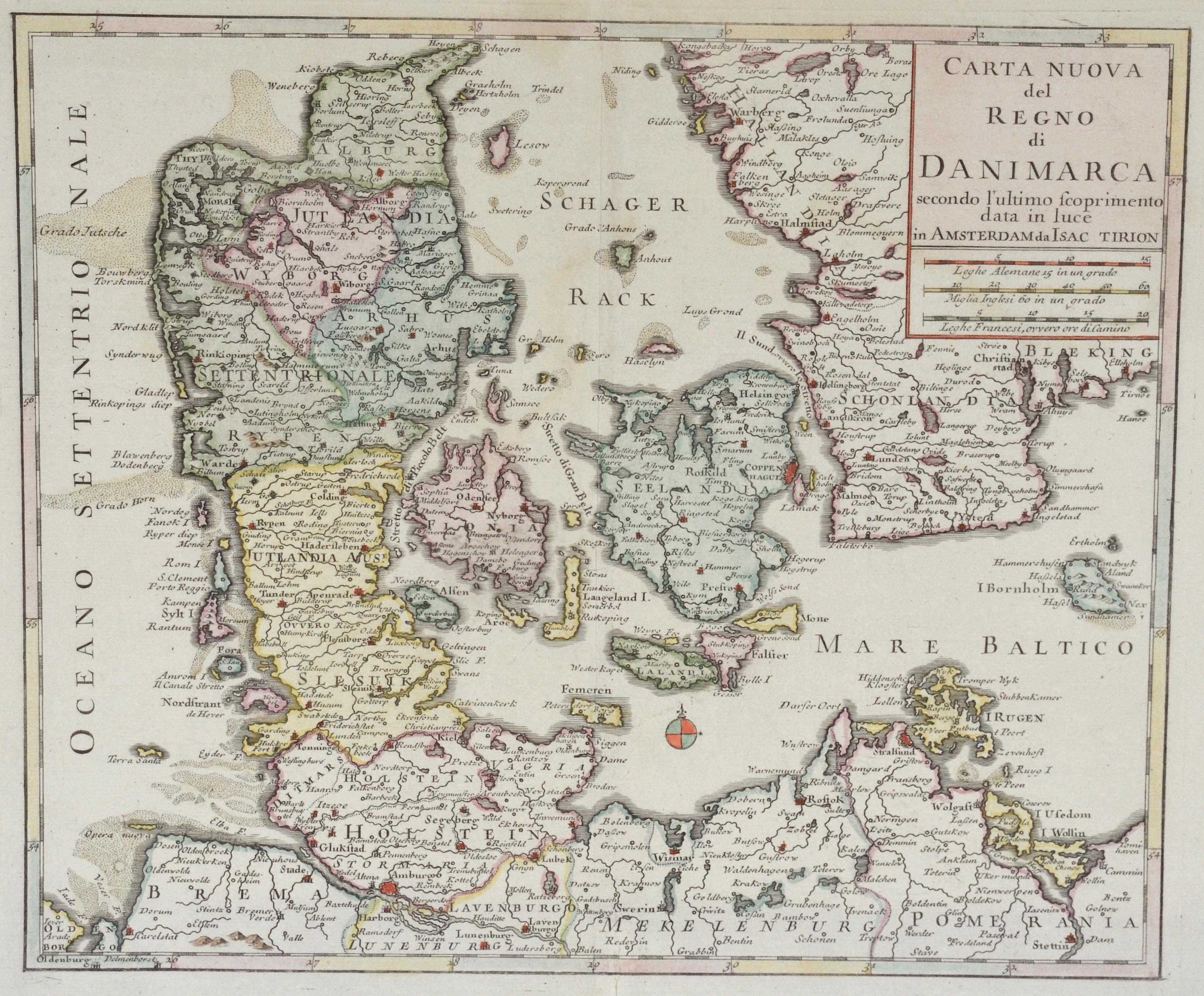Tirion Isaak Carta Nuova del Regno di Danimarca