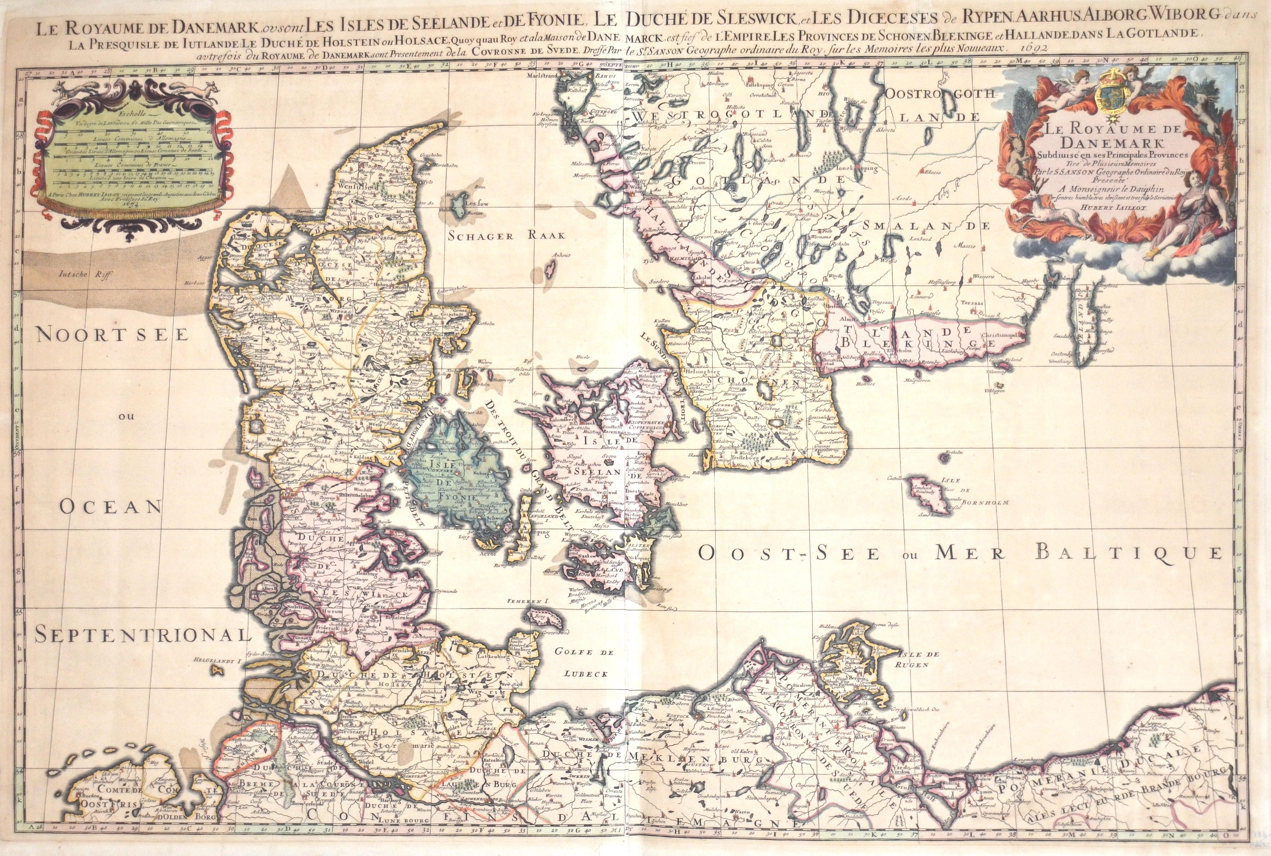 Jaillot/ Sanson Hubert/ Nicolas Le Royaume de Danemark Subdivisé en ses Principales Provinces…