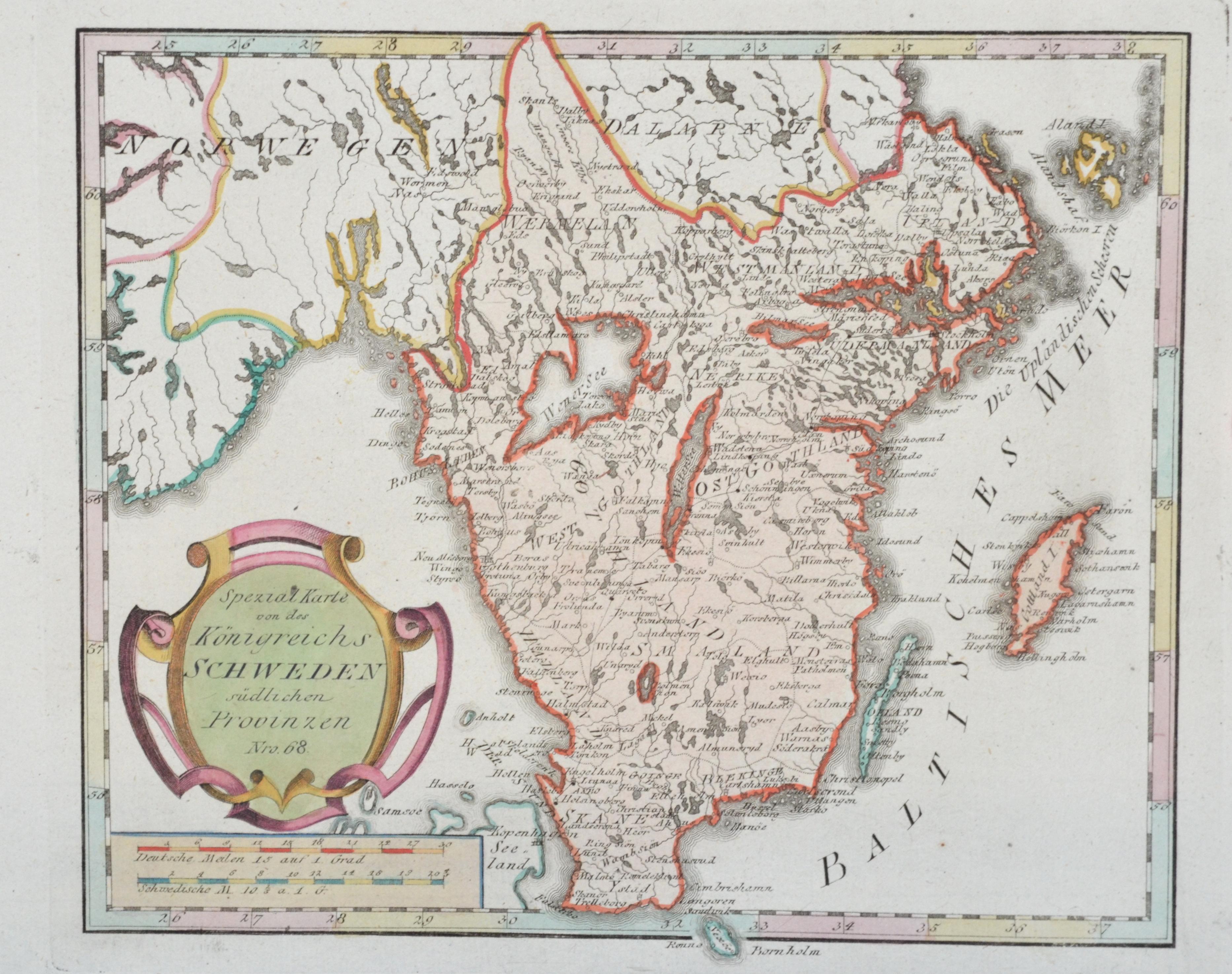 Reilly  Spezial Karte von des Königreichs Schweden südlichen Provinzen Nro. 68