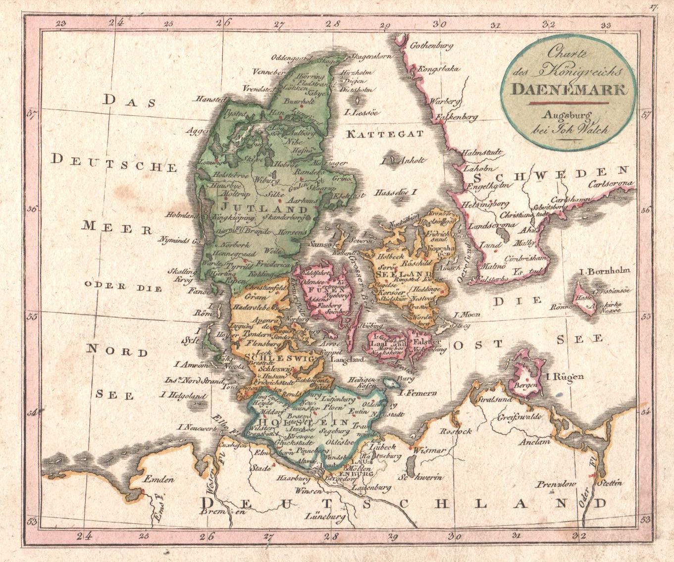 Walch Johann Charte des Königreis Daenemark