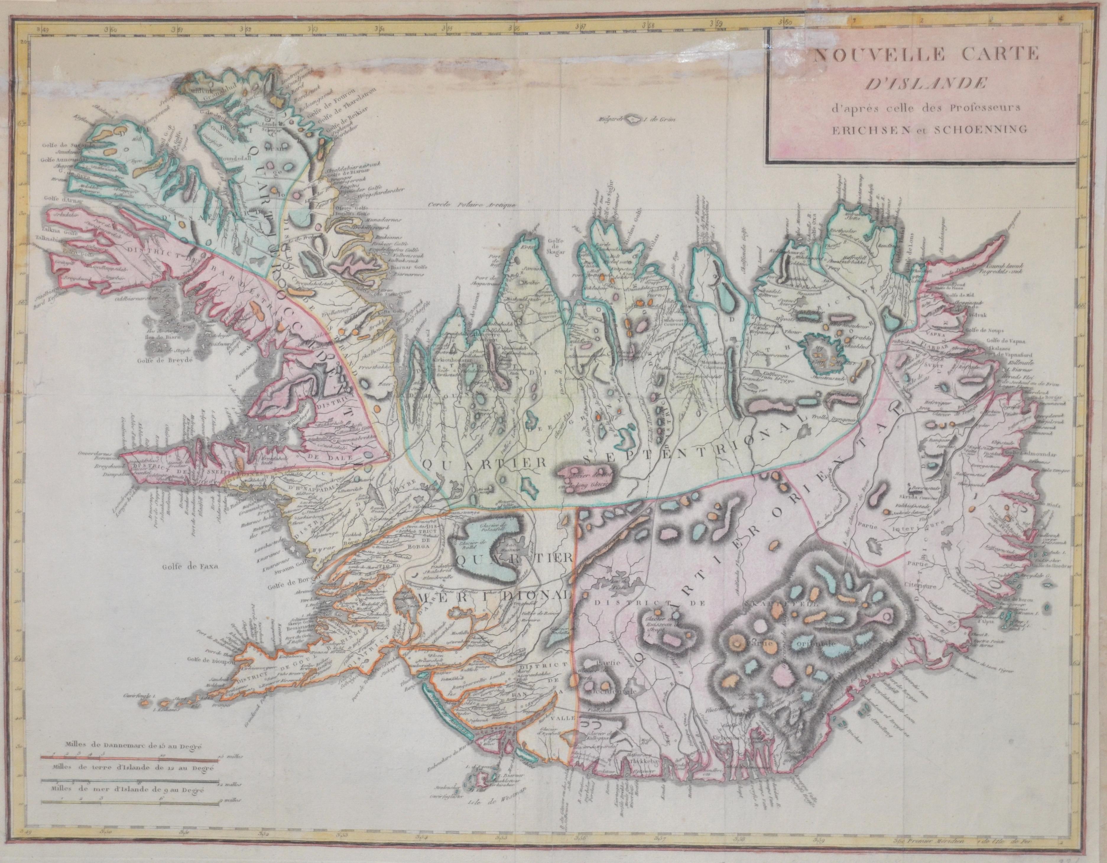 Danoise  Nouvelle Carte d' Islande d'après celle des Professeurs Erichsen et Schoenning