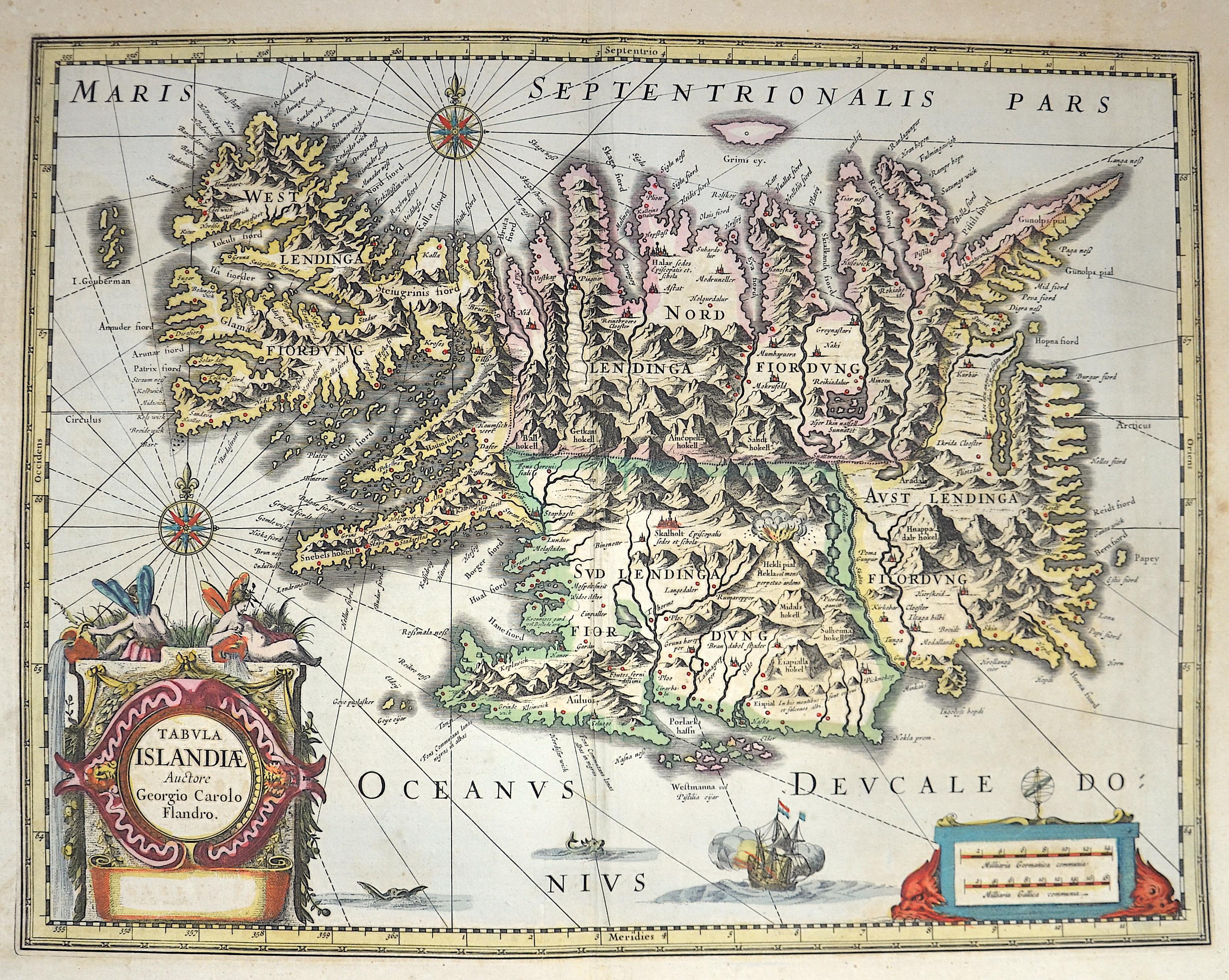 Blaeu Willem Janszoon Tabula Islandiae Auctore Georgio Carolo Flandrol.