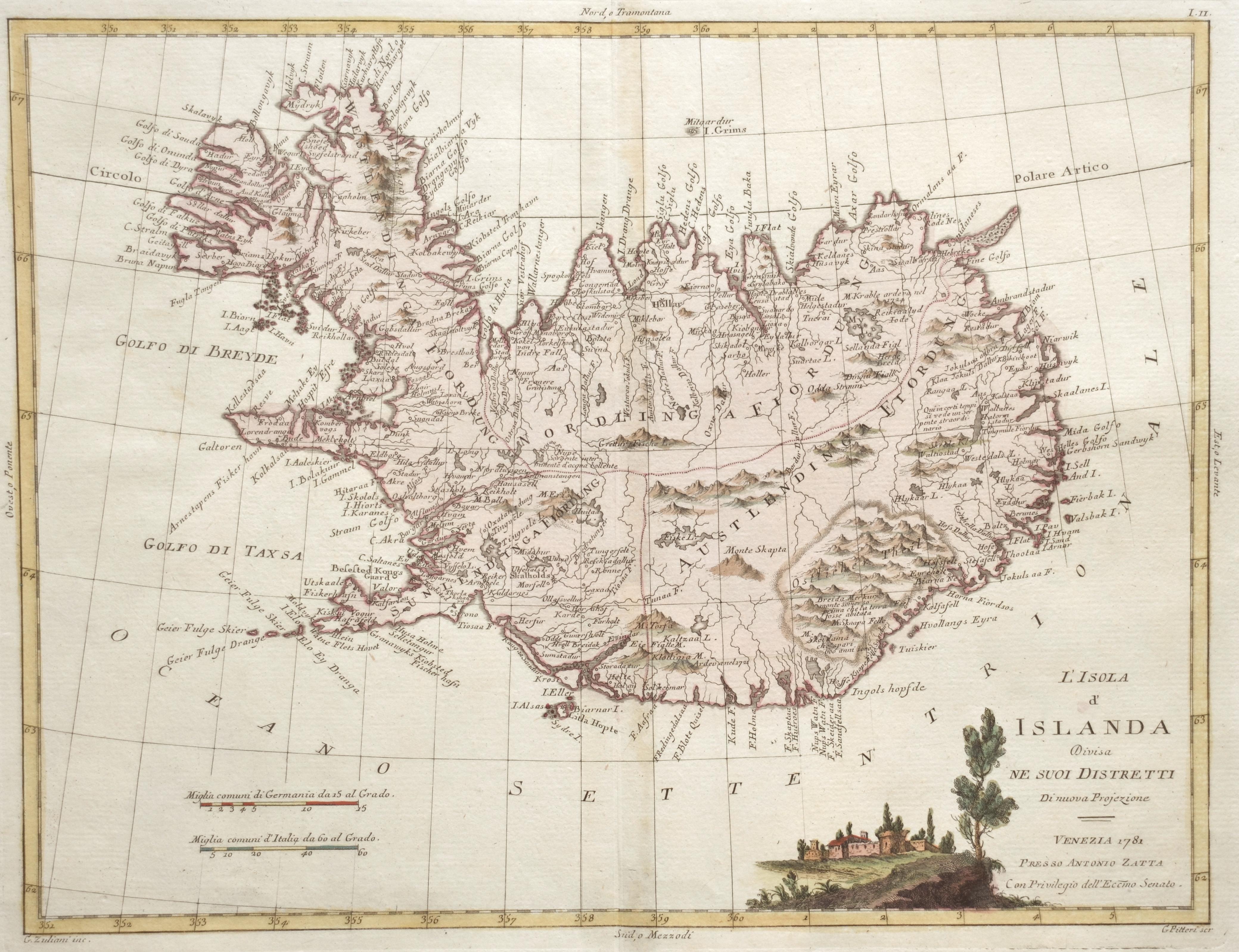 Zatta Antonio L'Isola d' Islanda Divisa ne suoi Distretti