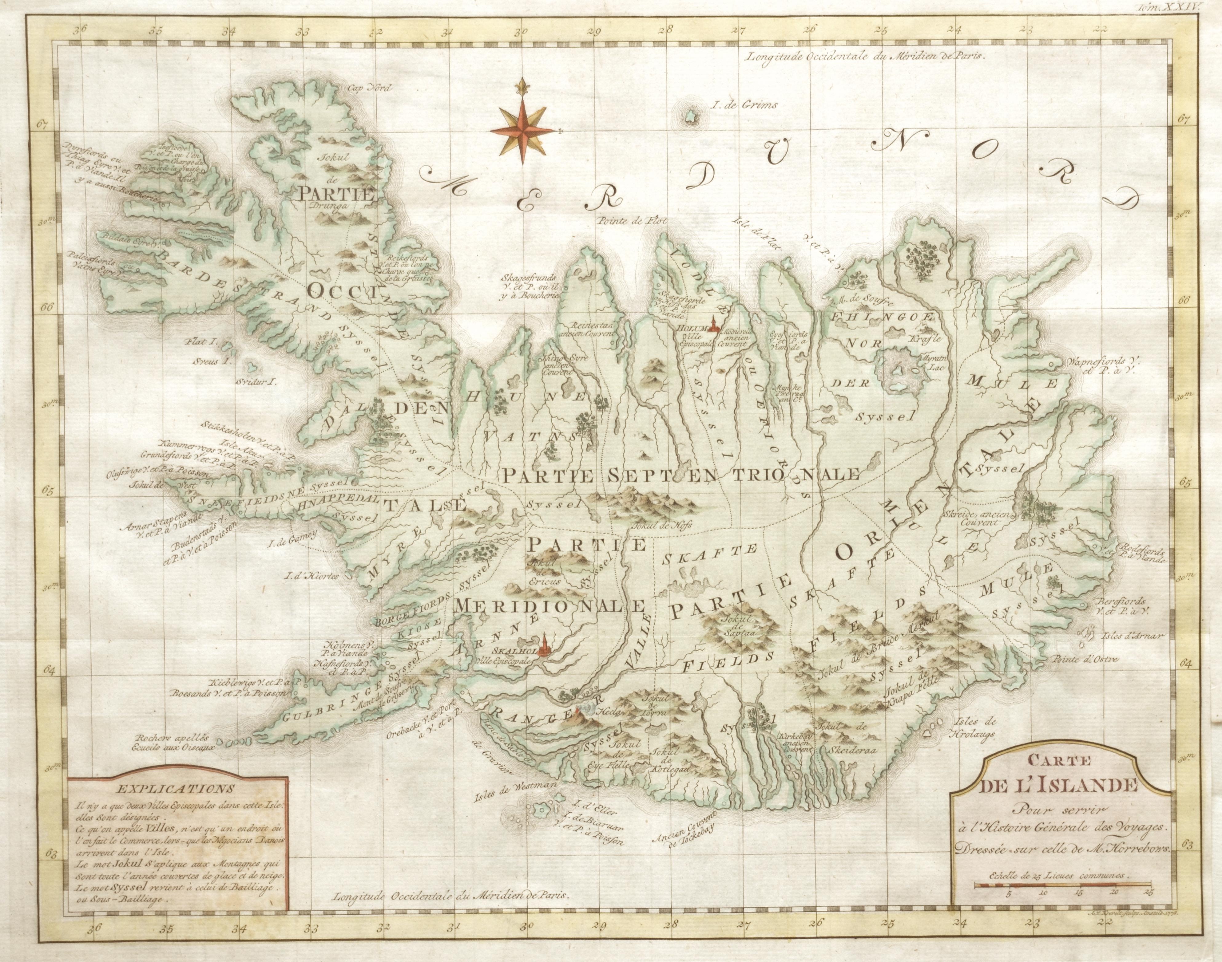 Krevelt A. V. Carte de l'Islande Pour servir à l'Histoire Générale des Voyages.