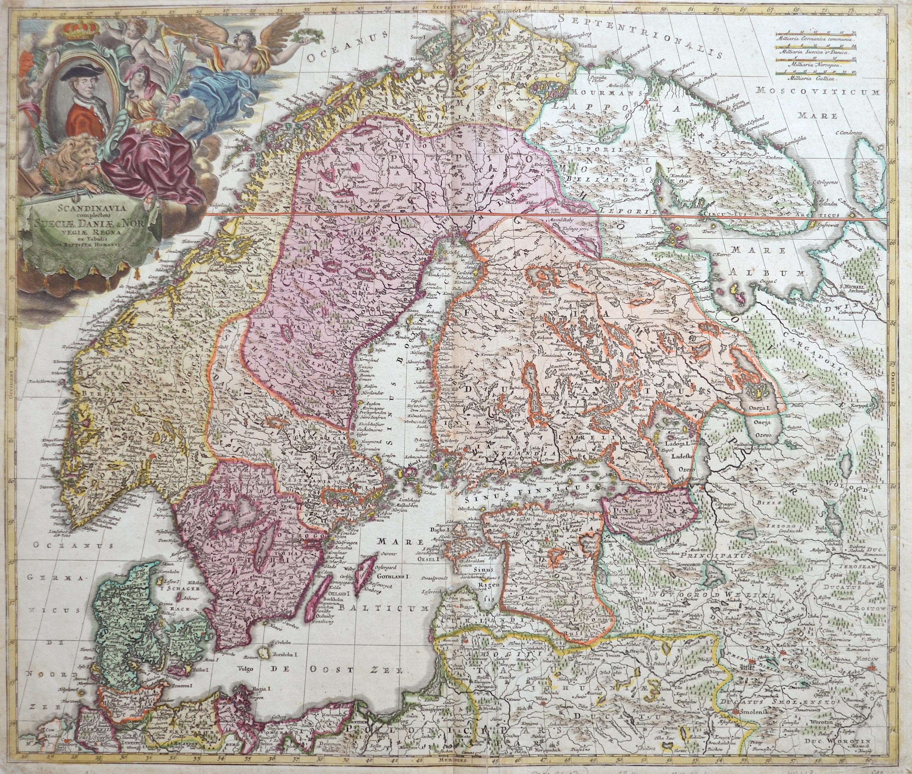 Homann Johann Babtiste Scandinavia complecens Suecie, Daniae & Norvegiae regna ex tabulis