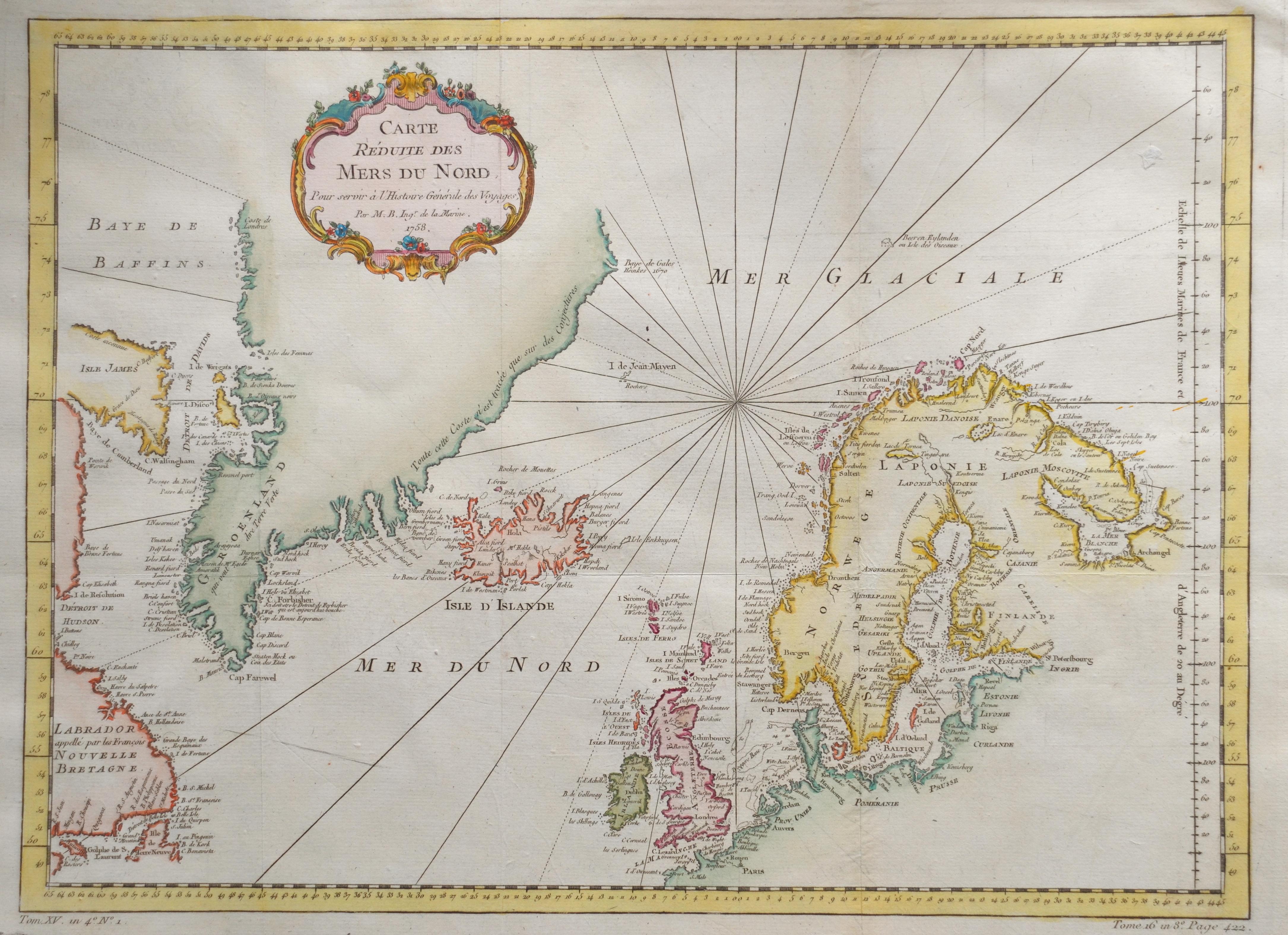 Bellin  Carte reduite des mers du nord