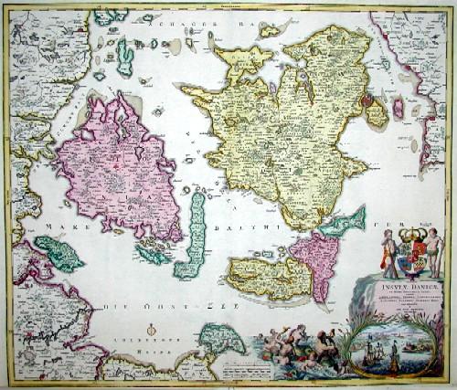 Homann Johann Babtiste Insulae Danicae in mari Balthico sitae utpote Zeelnadia, Fionia, Langelandia,Lalandia,Falstria, Fembria Mona