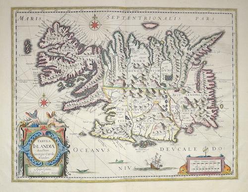 Blaeu Willem Janszoon Tabula Islandiae auctore Georgio Carolo Flandro