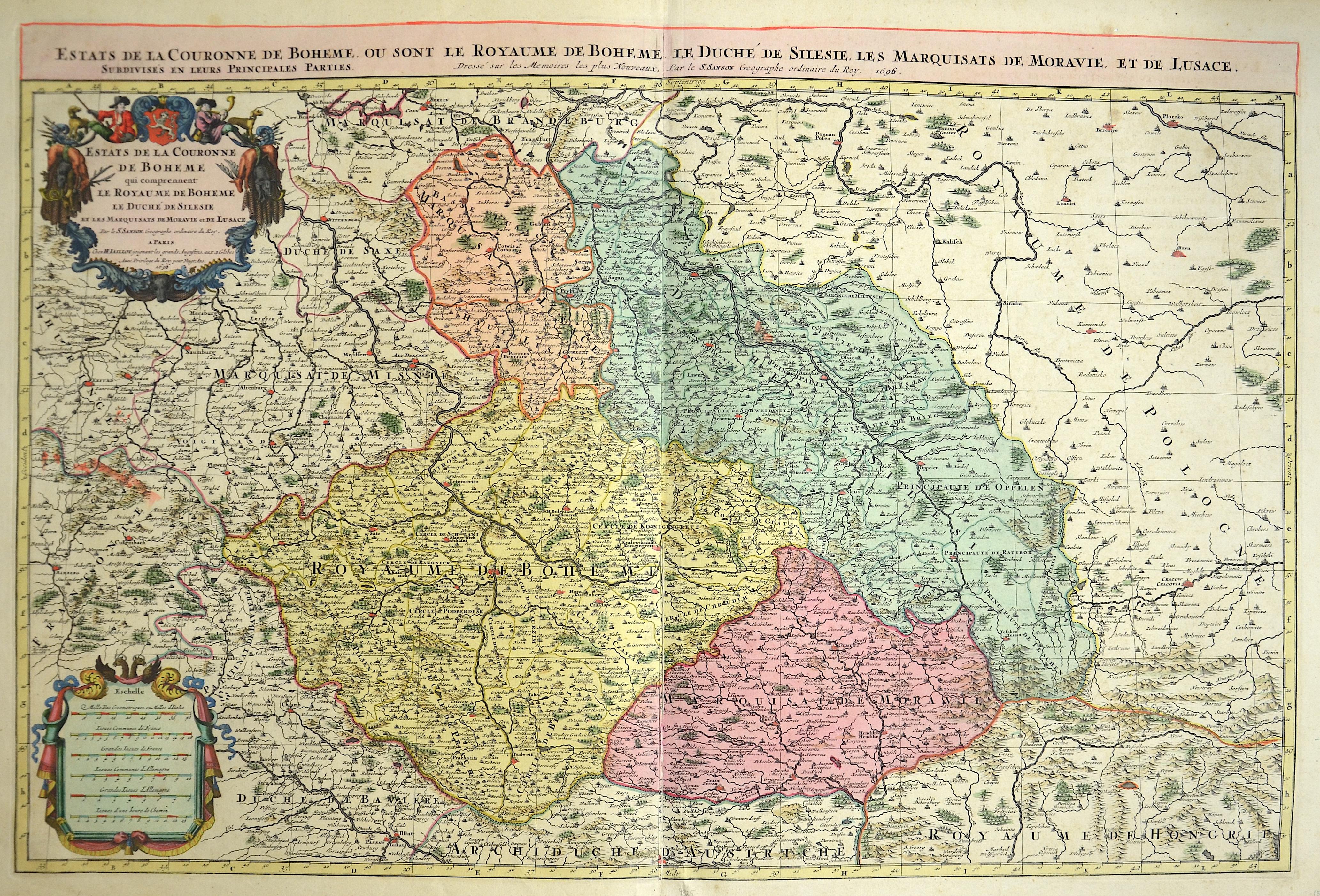 Sanson/ Jaillot, Charles Hubert  Estats de la Couronne de Boheme qui comprennent le Royaume de Boheme le duche de Silesie et les Marquisats de Moravie et de Lusace.