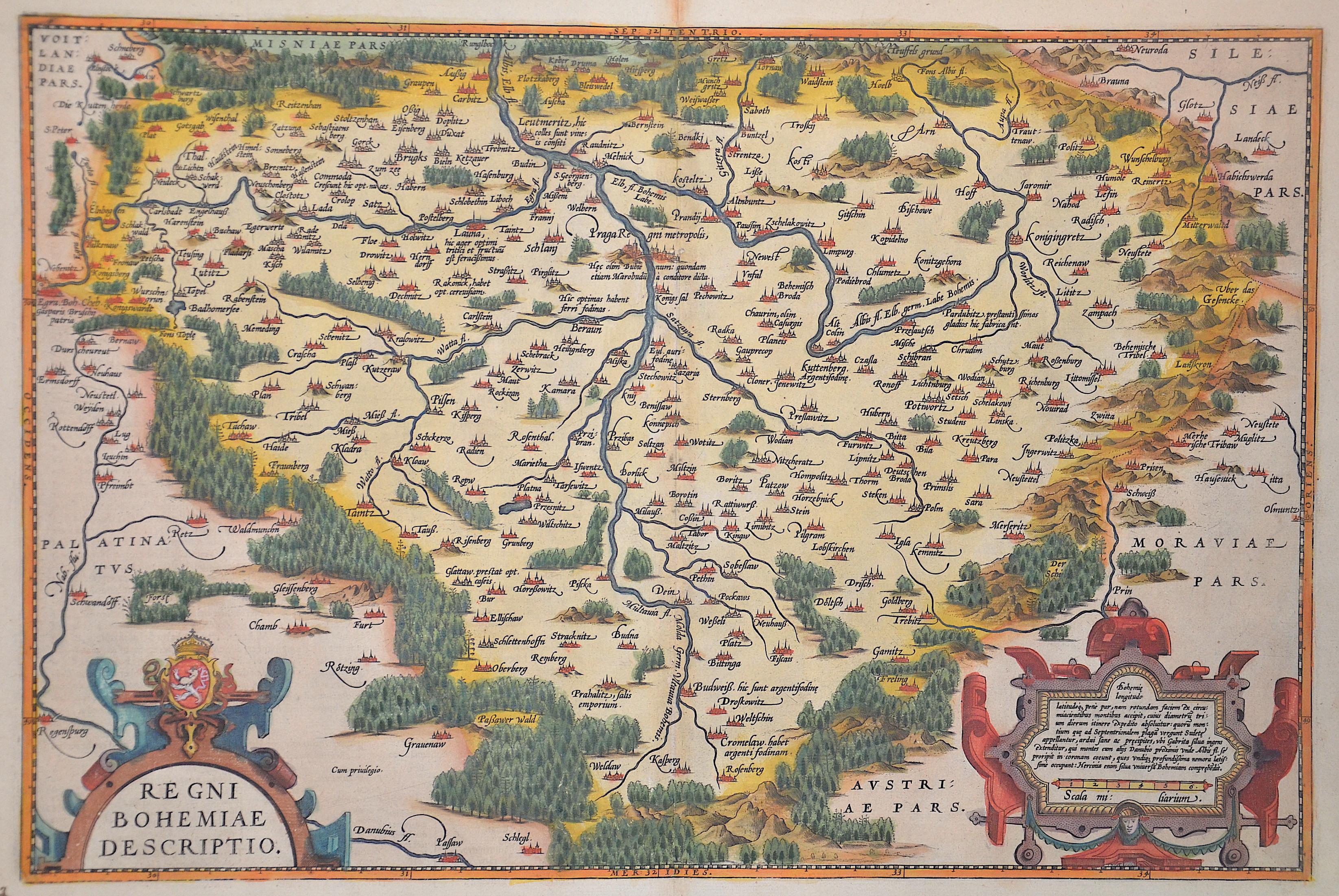 Ortelius  Regni Bohemiae descriptio