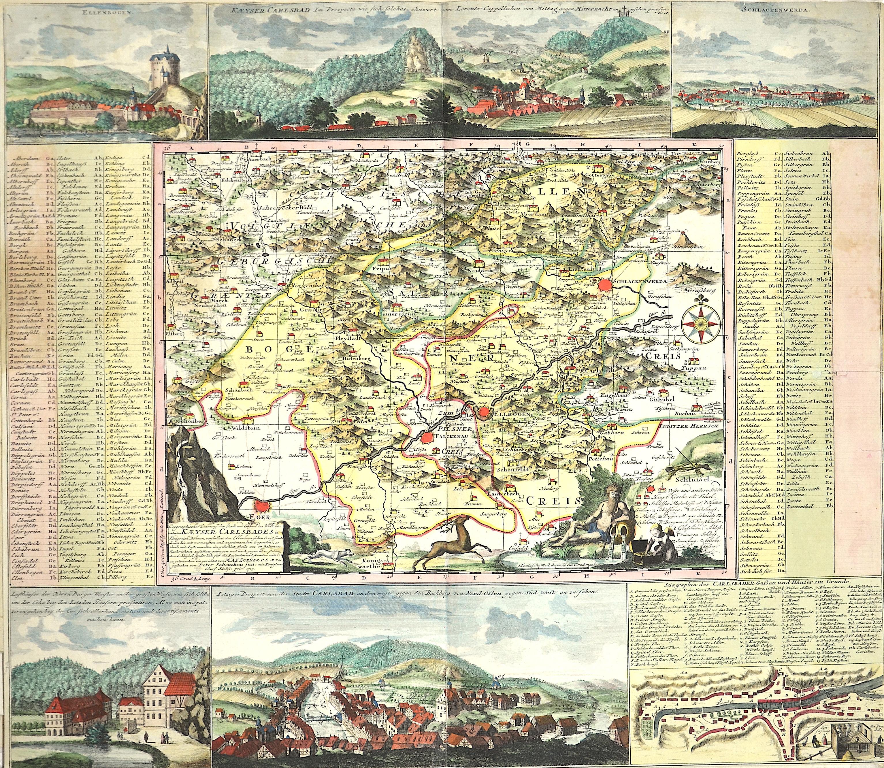Schenk Peter Geographischer Entwurff der Stadt und Gegend des Welt berühmten Kaeyser Carlbades in Königreich Böhmen…