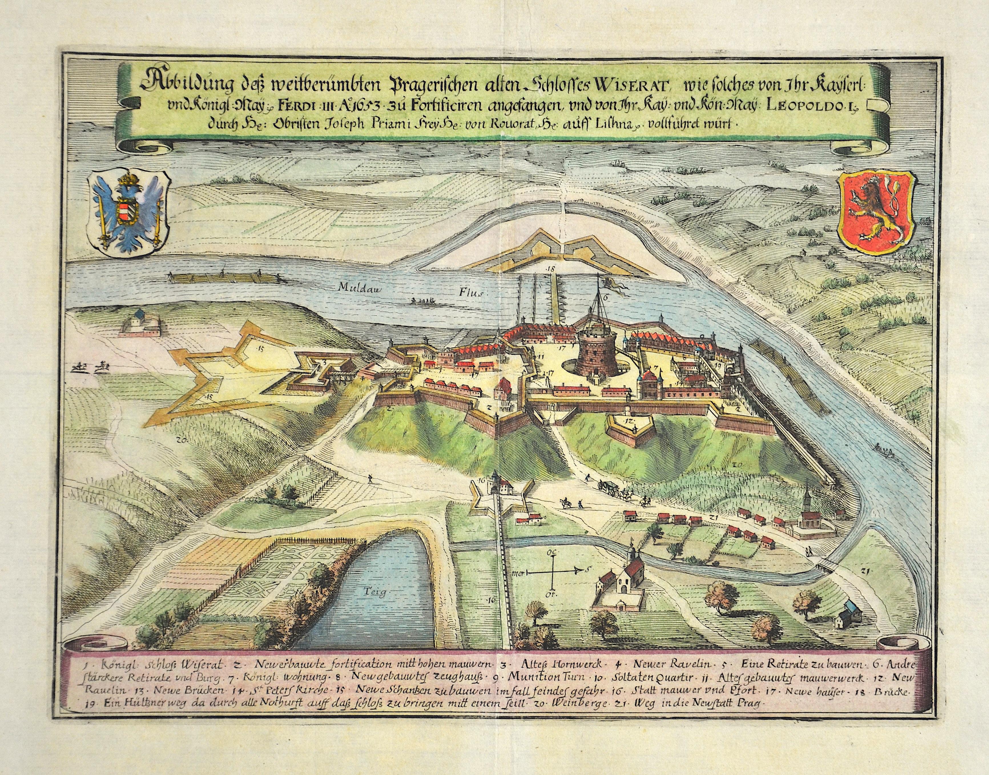 Merian Matthäus Abbildung dess weitberümbten Pragerischen alten Schlosses Wiserat, wie solches von Ihr kayserlich und königlich May. Ferdi III A:1653 zu Fortifizieren