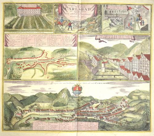 Homann Erben  Grundriss und prospect des Welt- beühmten Carlsbad, mit unteschiedlichen Gegenden accurat gezeichnet und ausgefertiget von Homannischen Erben