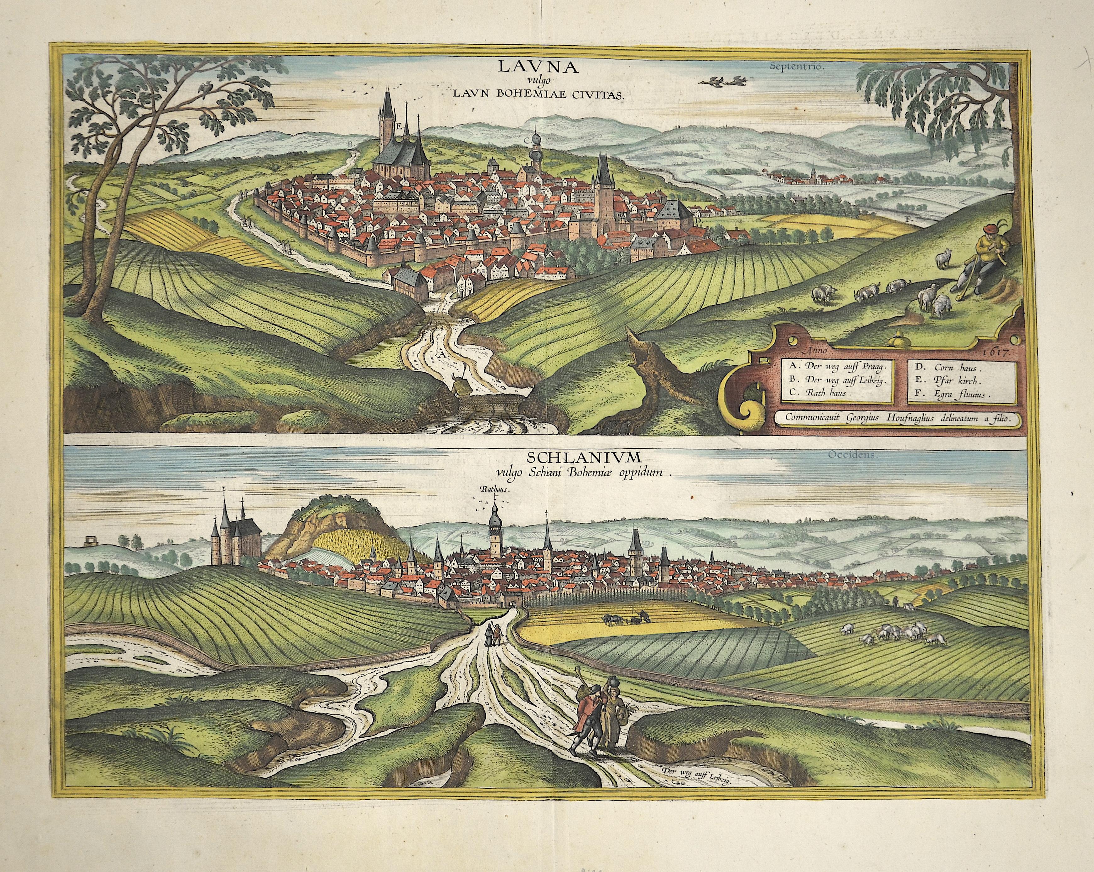 Braun/Hogenberg  Launa Vulgo Laun Bohemiae civitas – Schlanium volgo Schlani Bohemiae oppidum
