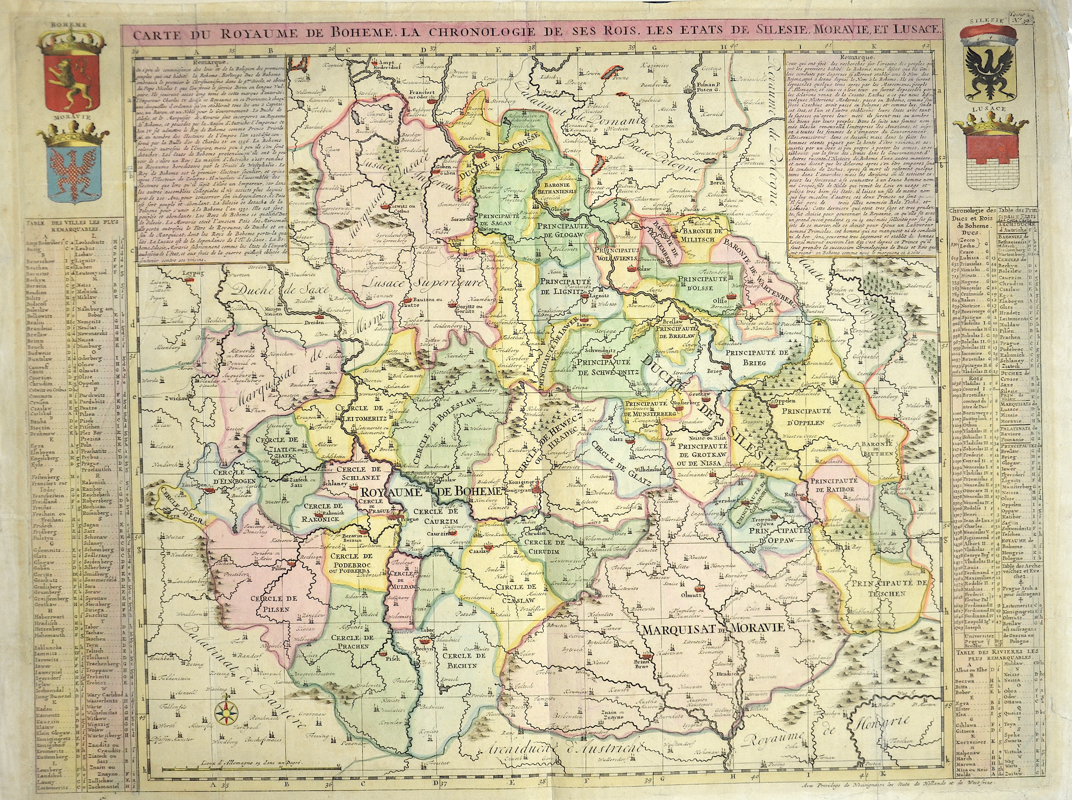 Chatelain  Carte du Royaume de Boheme la chronologie de ses Rois, les etats e Silesie, Moravie, et Lusace