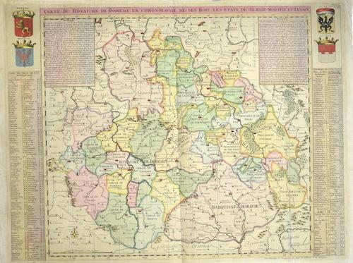 Chatelain Henri Abraham Carte du Royaume de Boheme la chronologie de ses Rois, les etats e Silesie, Moravie, et Lusace