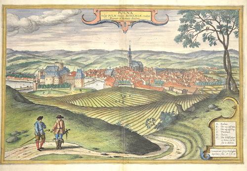 Braun/Hogenberg  Polna vulga Poln insign: Bohemiae civitas Regnum a Moravia dividens