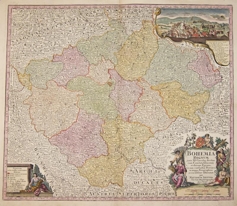 Seutter  Bohemia Regnum juxta XII. Circulos divisum, cum Comitatu Glacensi et ditione Egrana,