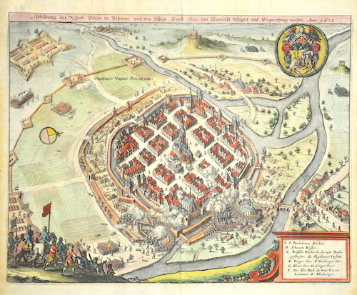 Merian  Abbildung der Statt Vilsen in Böhmen, und wie selbige durch den von Mansfeldt belägert und Eingenohmen worden. Anno 1618