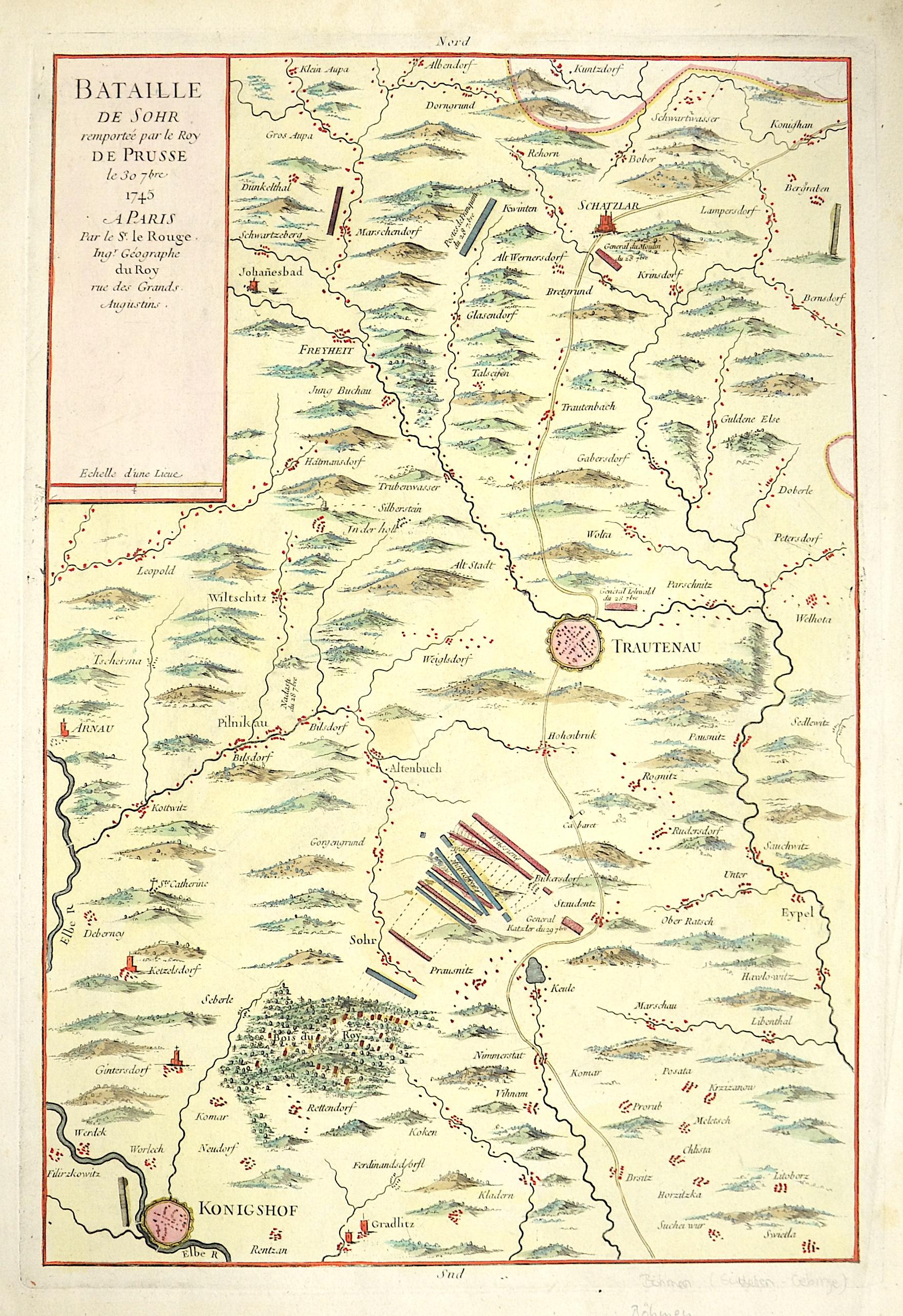 Le Rouge  Bataille de Sohr remprtee par le Roy de Prusse le 30  7 bre 1745 a Paris